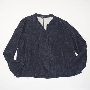 EILEEN FISHER Navy Knit Swing Coat Blazer